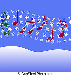 carol, muziek, kerstmis, snowflakes