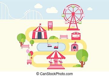 carousels, kaart, stijl, communie, plat, aantrekkingen, park, illustratie, infographic, vector, vermaak