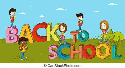cartoon., school geitjes, opleiding, back