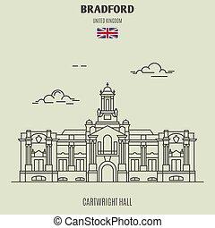 cartwright, uk., oriëntatiepunt, bradford, zaal, pictogram