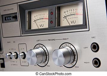 cassette, stereo, cassettespeler, ouderwetse , analoog, controles