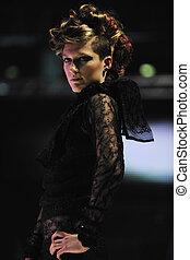 catwalk, tonen, vrouw, mode