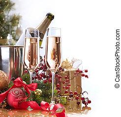 celebration., nieuw, champagne, jaar