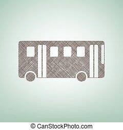 center., bruine , vector., eenvoudig, bus, teken., vlek, vlas, groene achtergrond, licht, pictogram