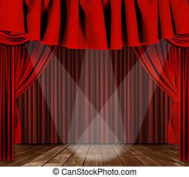 centrum, drapes, 3, geconcentreerde, toneel, schijnwerpers