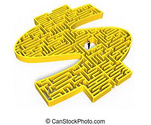centrum, geld, gele, vorm, zakenman, doolhof, 3d