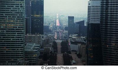 centrum, parijs, west, historisch, as, voorbijgaand