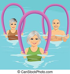 centrum, schuim, blauwgroen, vrije tijd, pool, aerobics, fitness, senior, walzen, stand, mensen, zwemmen