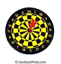centrum, vrijstaand, een, darten, witte , doel