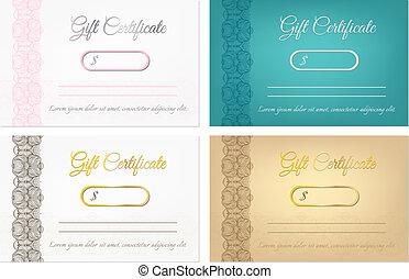 certificaten, vector, set, cadeau