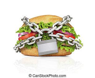 chain., hamburger, gezonde , voedsel., kiezen, gedwongen