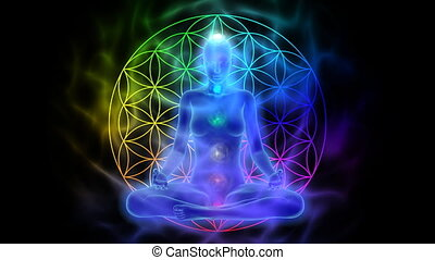 chakras, -, symbool, meditatie, aura, leven, bloem