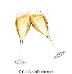 champagne, twee, bril