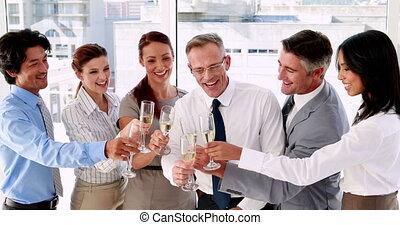 champagne, vieren, team