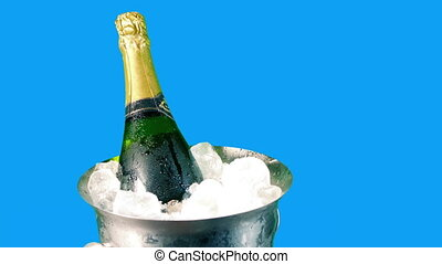 champagne, vrijstaand, emmer, ijs, bluescreen