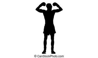champion., motie, silhouette., vertragen, lichtgewicht, bokser