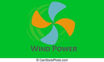 channel., animatie, logo, alfa, turbine, wind
