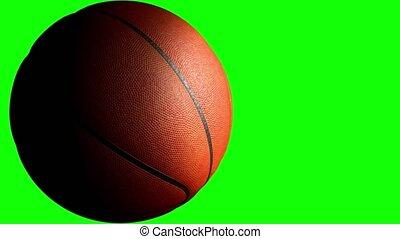 channel., groene, animatie, 3d, vertolking, 4k, basketbal bal, alfa, het spinnen, scherm
