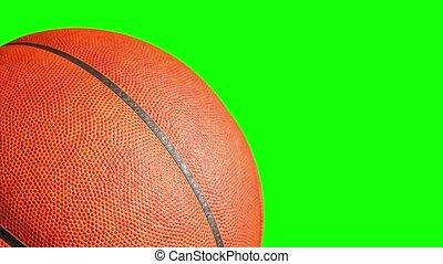 channel., scherm, animatie, vertolking, het spinnen, groene, basketbal bal, 3d, 4k, alfa
