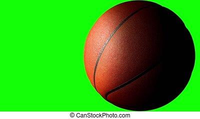 channel., vertolking, scherm, alfa, animatie, 3d, bal, basketbal, het spinnen, groene, 4k