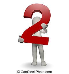 charcter, menselijk, twee, getal, vasthouden, 3d