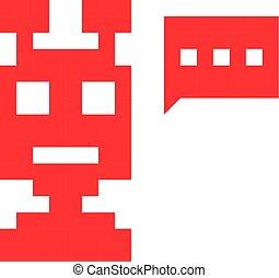 chatbot, pixel, rood, pictogram