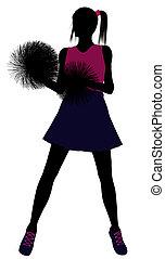 cheerleader, achtergrond, silhouette, witte