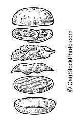 cheeseburger., ingredienten, geverfde, classieke, vrijstaand, hamburger, achtergrond., componenten, witte