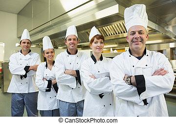 chef-koks, het glimlachen, fototoestel, team
