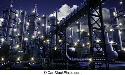 chemische plant, nacht