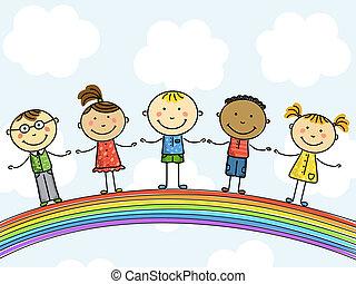 children., illustration., vector