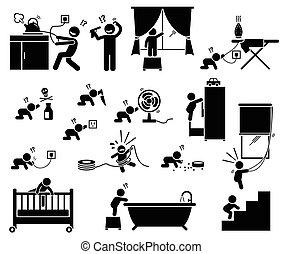 children., thuis, veiligheid, gevaar