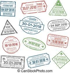 china, groenteblik, postzegel, paspoortcontrole, italië, travel., visum, paspoort