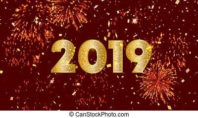 chinees, 2019, video, achtergrond, jaar, nieuw, kaart