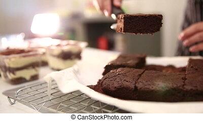 chocolade, brownie, taart, holle weg
