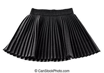 chorna, uitvinding, pleated, kort, vrouw, rok