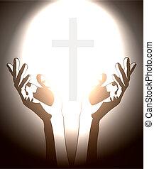 christen, silhouette, kruis, hand