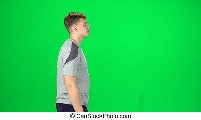 chroma, wandelende, mannelijke , scherm, jonge, groene, aanzicht, bovenkant, key.
