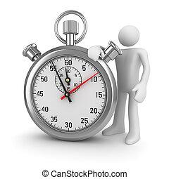 chroom, stopwatch, 3d, man