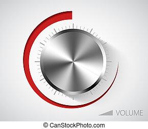 chroom, volume, knop