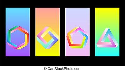 cijfers., retrowave, creatief, synthwave, of, figuren, penrose, abstract, onmogelijk, undecidable, behang, smartphone., voorwerpen