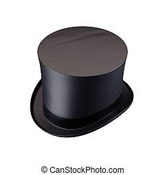 cilinder, hoedje, heer, vrijstaand