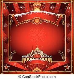 circus, kerstmis kaart, groet