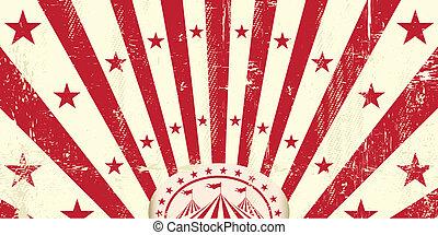 circus, retro, rood, uitnodiging