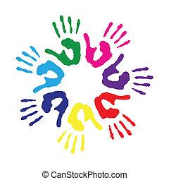 cirkel, afdrukken, kleurrijke, hand
