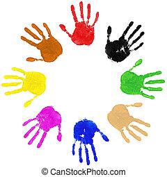 cirkel, handen