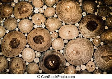 cirkel, hout, achtergrond, bankstel