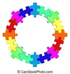 cirkel, zoekplaatje, gekleurde