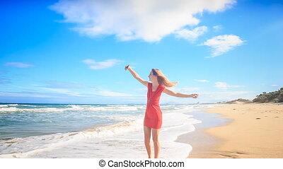 cirkels, blootsvoets, strand, selfie, slank, blonde , meisje, maakt, rood