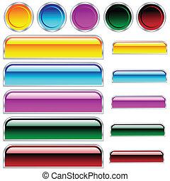 cirkels, knopen, afgerond, geassorteerd, kleuren, glanzend, scaleable, rechthoeken